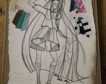 Exclusive Fashion Sketch w/ Fabric Clippings - Created by Project Runway Designer, Fashion Illustration, Runway Garment, Home Decor, Office