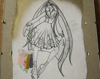 Exclusive Fashion Illustration Created by Project Runway Designer, Fashion Sketch w/ Fabric Clippings, Fashion Design, Wall Art, Home Decor