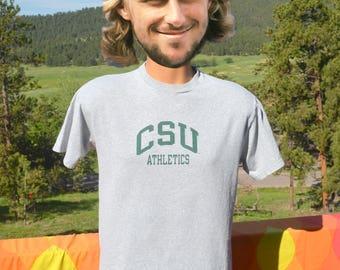 vintage 90s t-shirt COLORADO STATE university rams athletic heathered gray Small Medium champion