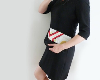 Clutch bag, Japanese fabric, red black and silver decorative vintage Japanese obi fabric, evening purse