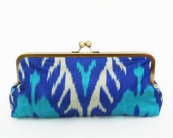 Clutch bag, ikat fabric, blue and turquoise silk ikat design, evening purse