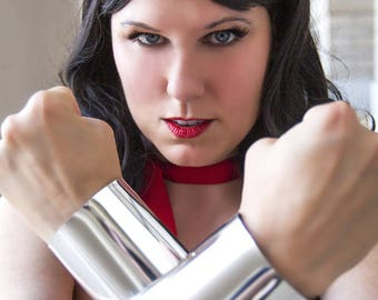 SALE Wonder Woman Silver or Gold Cuffs bracers costume cosplay accessory slightly scratched