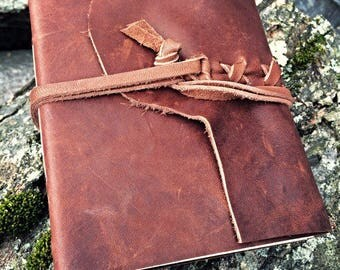LEATHER JOURNAL Brown Hand Torn Personalized Rustic Leather Journal Sketchbook Notebook Travel Gift Journal  in Montana Brown