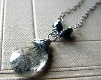 Tourmalinated Quartz Necklace Oxidized Sterling Black Spinel, Gemstone Pendant Necklace, Wirewrapped Rutile Gemstone Briolette