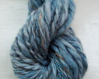 Handspun merino art yarn -  smoky grey blue, peach trilobal nylon by SpinningStreak