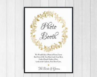 PRINTABLE - Photobooth sign - Photobooth Props Wedding - Wedding Photo booth Sign - Printable Wedding Signs - Gold Wedding Decor, Reception
