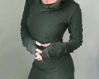 hooded tunic dress with thumb hole sleeves in DARK OLIVE