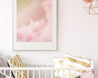 Baby Girl Room Decor - Abstract Nature Photography - Modern Nursery Picture - Oversize Wall Art - Botanical Prints - Pink Green White