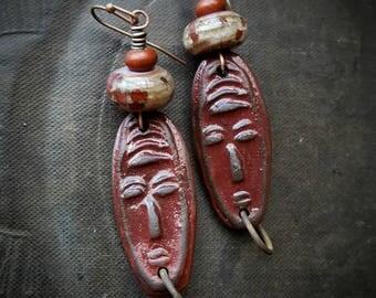 Rustic, Tribal, Clay Masks, Lampwork Glass, Hoops, Red Clay, Clay Beads, Hoop Earrings, Organic, Primitive,  Beaded Earrings