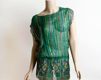Vintage Sequin Silk Blouse - 1980s Swee Lo Emerald Green Gold Pink Sheer Indian Design Sequined Boho Sleeveless Tunic Top - Small Medium