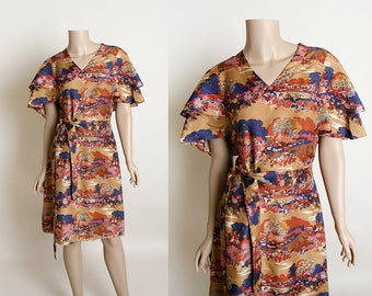 Vintage 1970s Dress - Liberty of London Silk Novelty Print Flutter Sleeve Doll Dress - Pigeons in The Park - Medium