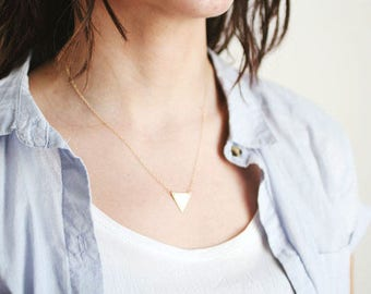 Minimalist Small Triangle Necklace - Brass | 14k Gold Filled | Sterling Silver
