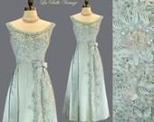 Seafoam Green Silk Beaded Dress S M Vintage 60s Bejeweled Frock Rhinestones Sequins ~ Makoff