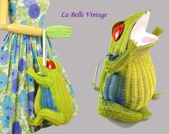 HUGE Wicker Frog Purse Vintage Convertible Shoulder Bag ~ Custom Creation
