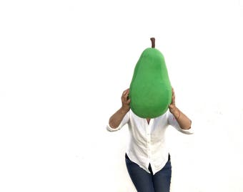Green Pear Pillow - Fruit Shaped Plush - Bartlett or Anjou