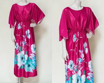 1970s Maxi Dress --- Vintage Hot Pink Dress