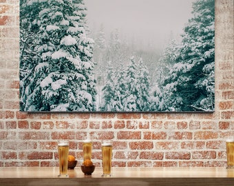 Colorado Wall Art, Minimalist Forest Art Print, Nature Photography, Winter Trees, Snow Storm, Modern Photography, Green and White Decor