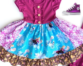 Disney Frozen dress Elsa Ana Disney Character clothing Little girls birthday dress toddler Elsa dress Frozen on Ice custom Momi Boutique