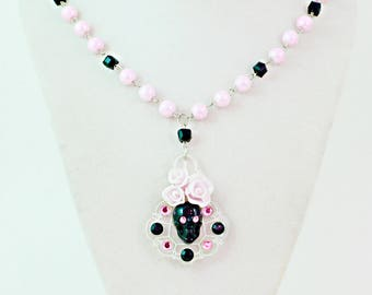 SUGAR SKULL and ROSES - Black Skull and pink Roses on Laser cut acrylic Chandelier Pendant Necklace