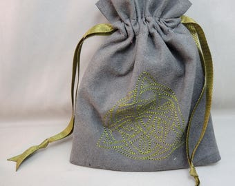 Choice of Thread Color Trefoil Embroidered Gray Ultrasuede Drawstring Bag