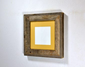 Gallery style picture frame reclaimed wood with mat for 4x6 5x5 or 6x6 without mat 8x8 complete free US shipping