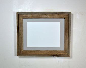Picture frame 8x10 gray mat without mat 11x14 from reclaimed wood Made in the USA 20 mat colors available