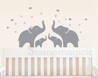Nursery Elephants Wall Decal - Baby Room Wall Art Home Décor - Removable Vinyl Wall Sticker Boy Girl - K172