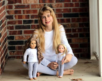 Size 12 SAMPLE SALE - Matching Girl Doll Clothes fits American Girl Doll OR Wellie Wisher - Heather Gray Leggings