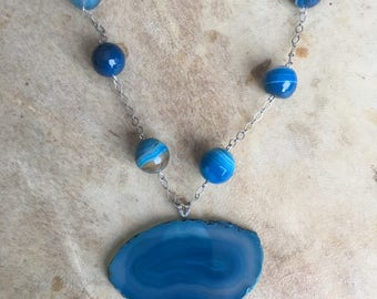 Sapphire Agate Slab Pendant   Gemstone Necklace