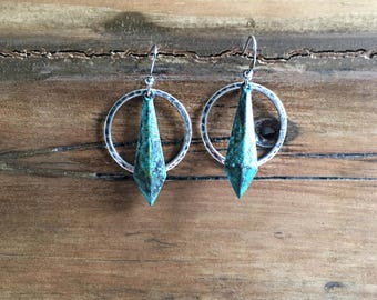 Mini Scope Earrings with patina dagger and hammered silver coated ring