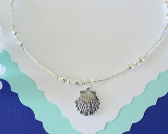 Shell Anklet Silver Charm, Charm Anklet, Sterling Silver, Choose your Charm Anklet, Yoga, Nautical, Zen, USN, Beach, Vacation