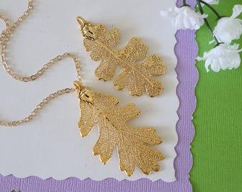Gold Oak Leaf Necklace, Real Leaf Necklace, Lacey Oak Leaf, Gold Leaf Necklace, Long Leaf, Leaf Pendant LC208