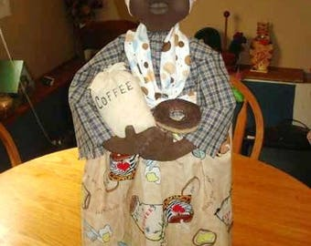 Doll PATTERN Black Doll Coffee Maker Cover with Doughnut Pattern