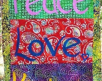 Peace, Love, Kindness Double Sided Hippie Batik Garden Art Flag large size
