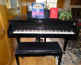 "Piano, Kimball ""La Petite"" Grand Piano, Ebony Black Satin, Musical instrument, Vintage Piano"