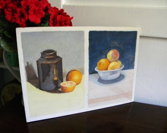 Original Vintage Painting 1943 Oil and Pastel Still Life Oranges Evelyn Letts
