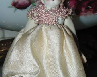 Tiny Antique German All Bisque DOll .....free ship in USA
