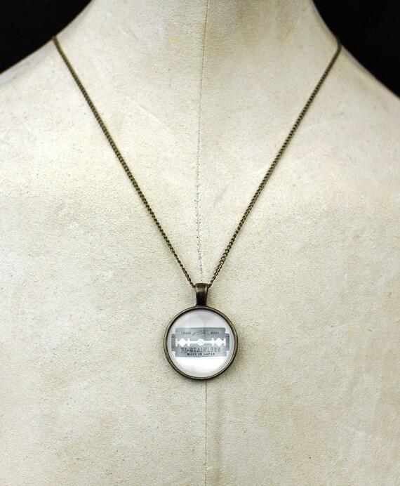 Custom razor blade necklace pendant tattoo cutter straight edge necklace punk rock tattoo