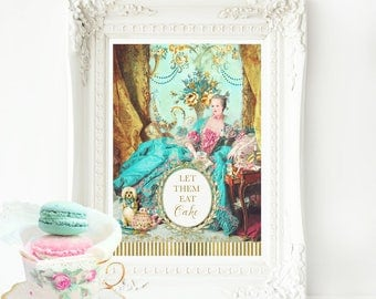 Marie Antoinette, Let them eat cake, French art print, Baroque, Rococo, vintage style, A4 giclee