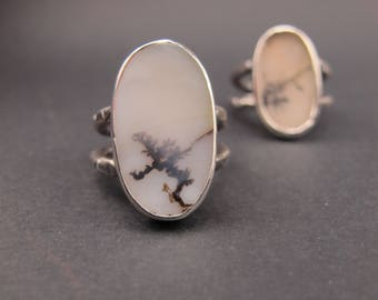 Sterling silver and dendrite agate - Hammered double band - Natural Stone - Oxidized Ring - Size 5.5 - Gifts for her - Poetic jewelry