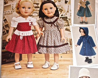 "Retro Style Doll Clothes Pattern, Simplicity 1245, for 18"" Doll"