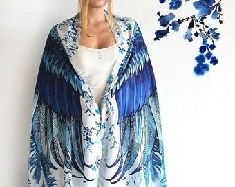 SALE Blue Wings Scarf, Birthday Gift for Women, Festival Clothing, Beach Sarong, Boho Shawl, Bohemian Wing Shawl, Printed Shawl, Beach Wrap