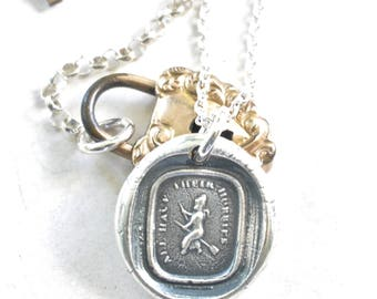 witch wax seal necklace pendant ... all have their hobbies - silver Victorian wax seal jewelry
