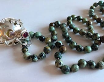 Harmony Ball Necklace With African Turquoise-Gemstone  Mala Necklace