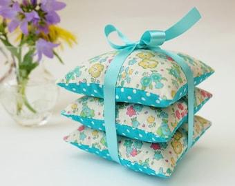 Liberty Print Pale Turquoise Lavender Sachets, Lavender Pillow Trio, Pretty Floral Fabric Lavender Scented Sachets