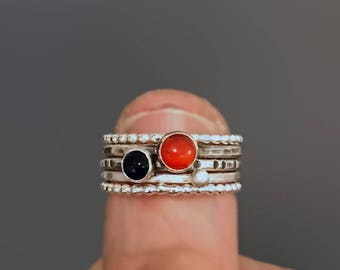 Hammered Silver Stacking Rings with Carnelian and Onyx, Beaded Spacer Bands, Black and Red Gemstone Ring Stack, Stackable Silver Rings