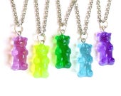 Gummy Bear Necklace, Candy Necklace, Pink Gummy Candy Jewelry, Miniature Food Jewelry, Kawaii Pastel Goth Jewelry
