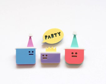 Tupperware Party, Laser Cut Acrylic Brooches, Plastic Tub Brooches, Fun Brooch Set, Awesome Unique Gift, Humorous Jewellery, RockCakes uk