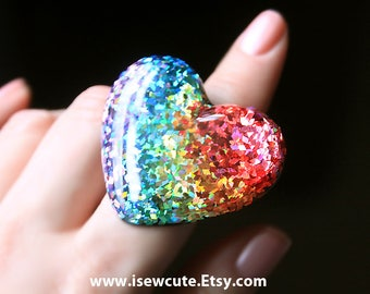 Rainbow Ring, ROYGBIV Rainbow Gradient Ring, all the colors of the rainbow, huge adjustable size heart ring handcrafted resin by isewcute