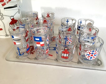H.J. Stotter Commodore Nautical Highball & Lowball Tumblers with Ice Bucket and Tray
